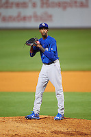 Iowa Cubs relief pitcher Carl Edwards Jr. (11) gets ready to deliver a pitch during a game against the Nashville Sounds on May 3, 2016 at First Tennessee Park in Nashville, Tennessee.  Iowa defeated Nashville 2-1.  (Mike Janes/Four Seam Images)