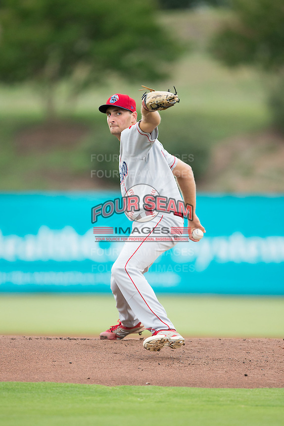 Lakewood BlueClaws starting pitcher Tyler Viza (21) in action against the Kannapolis Intimidators at Intimidators Stadium on July 14, 2015 in Kannapolis, North Carolina.  The Intimidators defeated the BlueClaws 8-2.  (Brian Westerholt/Four Seam Images)