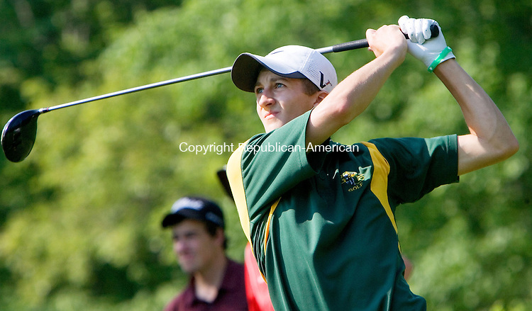 WATERTOWN CT. 30 May 2013-053013SV04-Jay Hogan, 17, of Holy Cross High tees off on the 8th tee during the NVL Golf Championships at the Watertown Golf Club in Watertown Thursday.<br /> Steven Valenti Republican-American