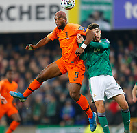 16th November 2019; Windsor Park, Belfast, Antrim County, Northern Ireland; European Championships 2020 Qualifier, Northern Ireland versus Netherlands; Ryan Babel of Netherlands wins the header in front of the Northern Ireland goal - Editorial Use