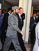 President Fidel Castro of Cuba, left, is escorted by United Nations Secretary-General Kurt Waldheim, right, during his visit to address the UN General Assembly in New York, New York on October 15, 1979.  Castro's speech discussed the disparity between the world's rich and the world's poor.<br /> Credit: Arnie Sachs / CNP