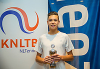 Hilversum, Netherlands, December 3, 2017, Winter Youth Circuit Masters, 12,14,and 16, years, prizegiving 16 years<br /> , 5 th place boys : Jay Zwinkels<br /> Photo: Tennisimages/Henk Koster
