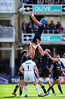 Zach Mercer of Bath Rugby wins the ball at a lineout. European Rugby Challenge Cup Quarter Final, between Bath Rugby and CA Brive on April 1, 2017 at the Recreation Ground in Bath, England. Photo by: Patrick Khachfe / Onside Images
