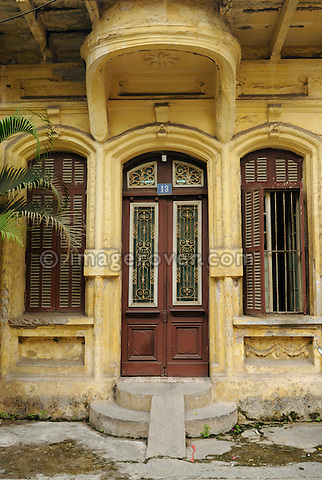 Asia, Vietnam, Hanoi. Colonial style home.