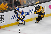 June 6, 2019: St. Louis Blues left wing Jaden Schwartz (17) and Boston Bruins defenseman John Moore (27) in action during game 5 of the NHL Stanley Cup Finals between the St Louis Blues and the Boston Bruins held at TD Garden, in Boston, Mass. The Blues defeat the Bruins 2-1 in regulation time. Eric Canha/CSM