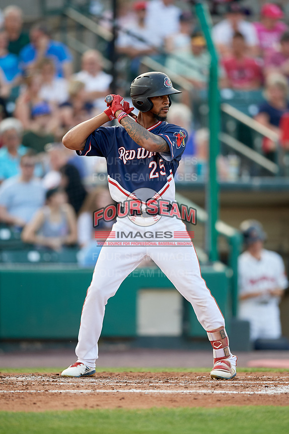 Rochester Red Wings center fielder Byron Buxton (25) at bat during a game against the Pawtucket Red Sox on July 4, 2018 at Frontier Field in Rochester, New York.  Pawtucket defeated Rochester 6-5.  (Mike Janes/Four Seam Images)