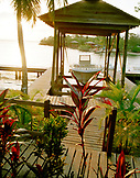HONDURAS, Roatan, boathouse and boat, Anthony's Key