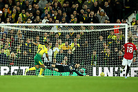 27th Ocotber 2019; Carrow Road, Norwich, Norfolk, England, English Premier League Football, Norwich versus Manchester United; Onel Hernandez of Norwich City scores past David de Gea for 1-3 in the 88th minute - Strictly Editorial Use Only. No use with unauthorized audio, video, data, fixture lists, club/league logos or 'live' services. Online in-match use limited to 120 images, no video emulation. No use in betting, games or single club/league/player publications