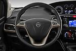 Car pictures of steering wheel view of a 2019 Lancia Ypsilon Gold 5 Door Hatchback Steering Wheel