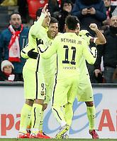 FC Barcelona's Luis Suarez, Leo Messi, Neymar Santos Jr and Xavi Hernandez celebrate goal during La Liga match.February 8,2015. (ALTERPHOTOS/Acero) /NORTEphoto.com