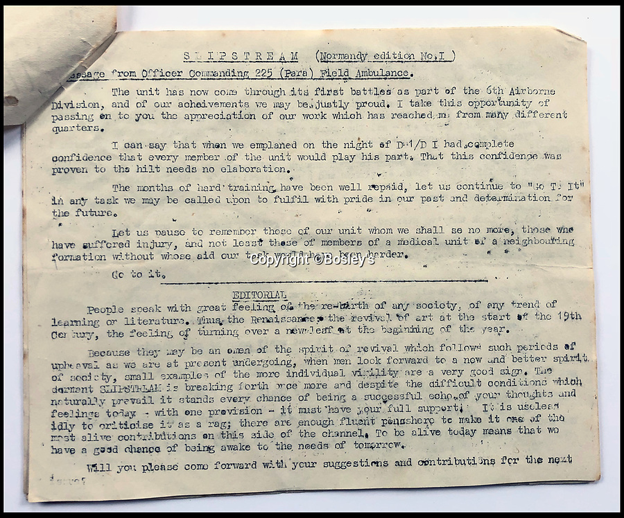 BNPS.co.uk (01202 558833)<br /> Pic :   Bosley's/BNPS<br /> <br /> Part of a parachute regiment newsletter.<br /> <br /> Top secret maps and documents belonging to a hero medic who served on D-Day have been unearthed 75 years later.<br /> <br /> Douglas Protheroe helped set up a field hospital at the cafe next to Pegasus Bridge in Normandy in the aftermath of the famous British assault there just after midnight on June 6, 1944.<br /> <br /> The team of medics removed wounded men from the bridge over the Caen Canal, coming under enemy fire while doing so.<br /> <br /> The maps showing Protheroe's drop zone are being sold by Bosley's Auctioneers.