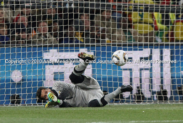20 JUN 2010: Julio Cesar (BRA) makes a save. The Brazil National Team defeated the C'ote d'Ivoire National Team 3-1 at Soccer City Stadium in Johannesburg, South Africa in a 2010 FIFA World Cup Group G match.