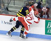 Adam Ross (Merrimack - 26), Vinny Saponari (BU - 27) - The Boston University Terriers defeated the Merrimack College Warriors 6-4 on Saturday, November 14, 2009, at Agganis Arena in Boston, Massachusetts.