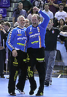 28.04.2012. Barcelona, Spain. Velux EHF Champions League (Quarter Final 2nd Leg). Picture show Peter Henriksen (L) and Kasper Hvidt (R) in action during match between FC Barcelona Intersport against AG Copenhagen at Palau Blaugrana
