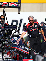 Oct 5, 2013; Mohnton, PA, USA; Lee Beard, crew chief for NHRA top fuel dragster driver Steve Torrence during qualifying for the Auto Plus Nationals at Maple Grove Raceway. Mandatory Credit: Mark J. Rebilas-