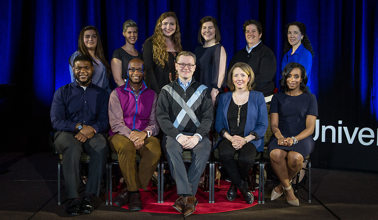 "Back row, left to right, Mariela Shaker, Doris C. Rusch, Rachel Pride, Nelly Mueller, Elizabeth ""Biz"" Lindsay-Ryan, Jeanne Williams, front row, left to right, Jameson Dixon Jr., Brian A. Thompson, Tom Reitz, Julia DiGangi, Kelly Richmond Pope. Speakers for TEDxDePaulUniversity Tuesday, April 18, 2017, in the Lincoln Park Student Center. TEDxDePaulUniversity is an independently run, self-organized event. Through the theme ""Courage to Connect"" 10 speakers from across the DePaul community challenged thoughts and inspired ideas through a series of engaging talks and presentations. (DePaul University/Jeff Carrion)"