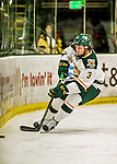 15 November 2015: University of Vermont Catamount Defenseman Mike Lee, a Freshman from Hamden, CT, in first period action against the University of Massachusetts Minutemen at Gutterson Fieldhouse in Burlington, Vermont. The Minutemen rallied from a three goal deficit to tie the game 3-3 in their Hockey East matchup. Mandatory Credit: Ed Wolfstein Photo *** RAW (NEF) Image File Available ***