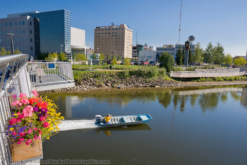 Chena river and the Centennial bridge in downtown Fairbanks, Alaska