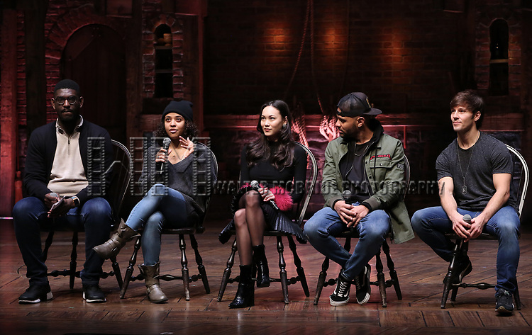 """Carvens Lissaint, Sasha Hollinger, Sabrina Imamura, Terrance Spencer and Thayne Jasperson during The Rockefeller Foundation and The Gilder Lehrman Institute of American History sponsored High School student #eduHam matinee performance of """"Hamilton"""" Q & A at the Richard Rodgers Theatre on December 5,, 2018 in New York City."""