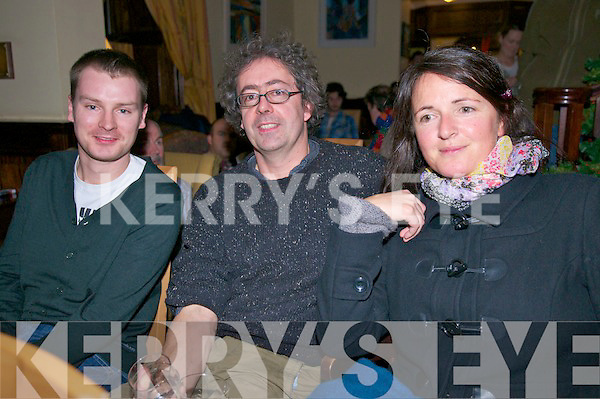 Brian Lucey (Anascaul), Nicholas McLachlan (Ventry) and Elaine O'Currain (Dingle) enjoying Other Voices at the Benners Hotel, Dingle, on Sunday night.