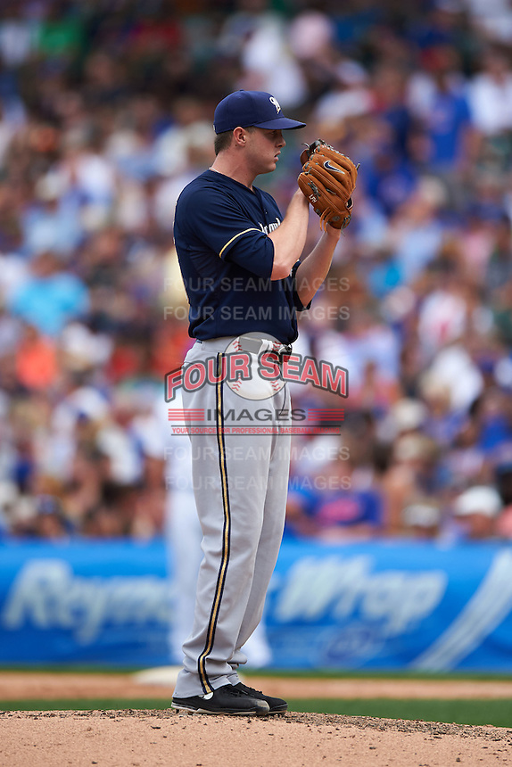 Milwaukee Brewers pitcher Corey Knebel (46) gets ready to deliver a pitch during a game against the Chicago Cubs on August 13, 2015 at Wrigley Field in Chicago, Illinois.  Chicago defeated Milwaukee 9-2.  (Mike Janes/Four Seam Images)