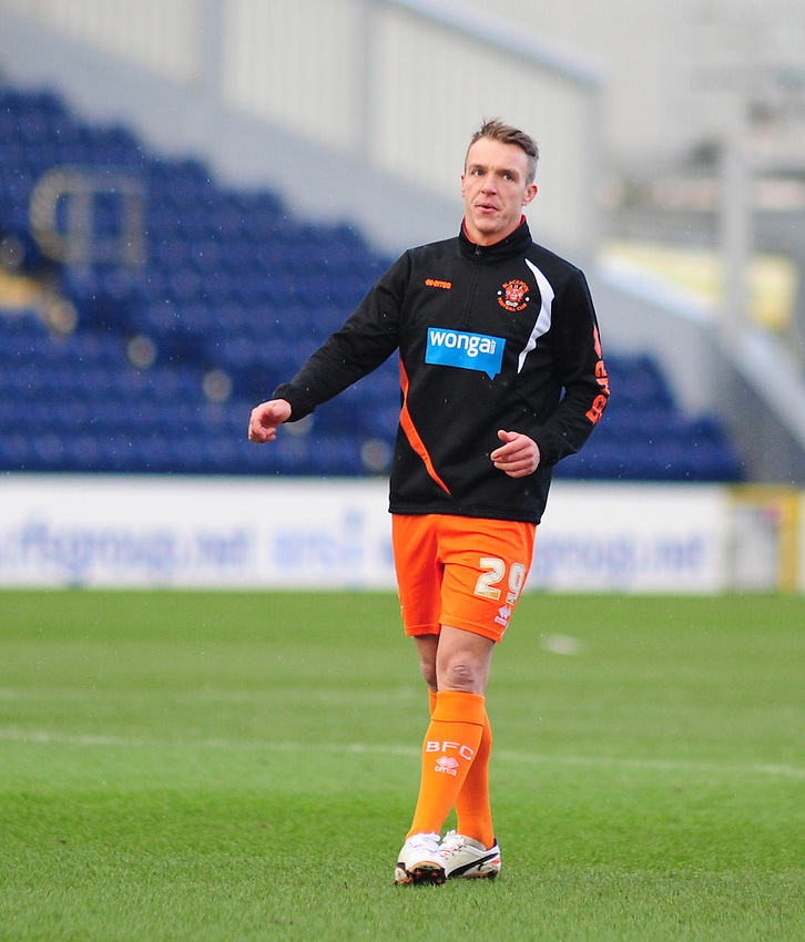 Blackpool's Anthony McMahon during the pre-match warm-up <br /> <br /> Photographer Andrew Vaughan/CameraSport<br /> <br /> Football - The Football League Sky Bet Championship - Blackburn Rovers v Blackpool - Saturday 21st February 2015 - Ewood Park - Blackburn<br /> <br /> &copy; CameraSport - 43 Linden Ave. Countesthorpe. Leicester. England. LE8 5PG - Tel: +44 (0) 116 277 4147 - admin@camerasport.com - www.camerasport.com