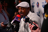 Canton, OH - August 3, 2018:  Former NFL player Brian Dawkins holds a media availability during the 2018 Pro Football Hall of Fame Enshrinement Week, August 3, 2018. Dawkins played with the Philadelphia Eagles from 1996-2008 and the Denver Broncos from 2009-2011. (Photo by Don Baxter/Media Images International)
