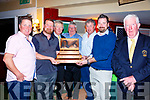 Taking top position in the Charlie Chaplin Am Am in Waterville on Saturday with a two day total score of 188 point were l-r; Shay Kelly, John Mooney, Patrick Murphy(Captain Waterville GC), Joseph Kennedy, Peter Murphy, David O'Sullivan(Sponsor - Stone Bridge) & Jimmy Curran(President Waterville GC).