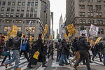 Protesters rally in NYC to condemn US strikes in Syria.