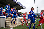 Matlock Town 0 Eastwood Town 3, 09/10/2010. Causeway Lane, FA Cup 3rd qualifying round. The players emerging from the dressing rooms in the new main stand before FA Cup 3rd qualifying round tie between Matlock Town and Eastwood Town at Causeway Lane, Matlock. The visitors from Nottingham who play one division higher than Matlock won by three goals to nil to move to within one round of the FA Cup 1st round proper. The match was watched by 655 spectators. Photo by Colin McPherson.