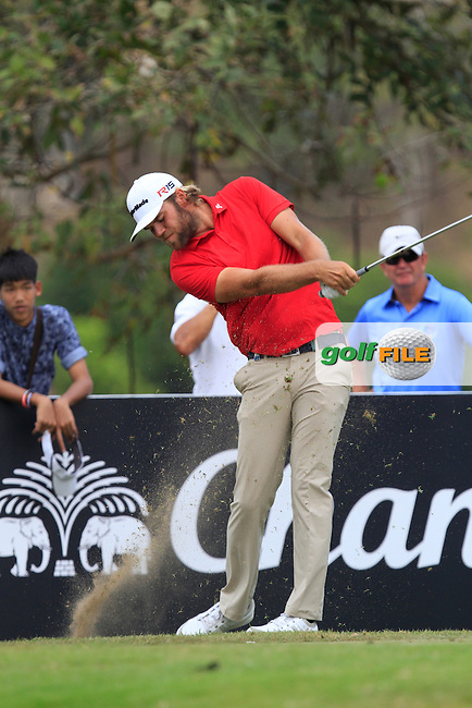 Johan Carlsson (SWE) on the 8th tee during Round 4 of the True Thailand Classic at the Black Mountain Golf  Club on Sunday 15th February 2015.<br /> Picture:  Thos Caffrey / www.golffile.ie