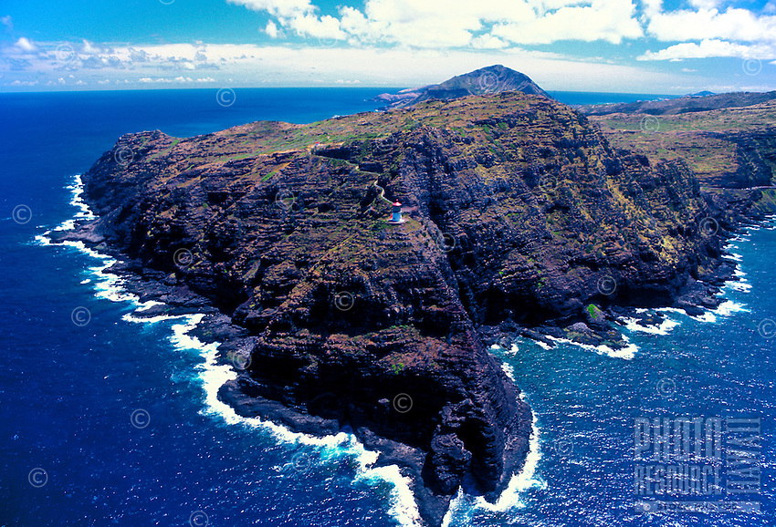 Aerial view of Makapuu point and Makapuu lighthouse. Located along windward coast of Oahu near Sealife park,Makapuu Beach, and the town of Waimanalo