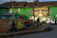 Street art by Daniel Cortez is seen in the Esperanza neighborhood of Cerro de Pasco, Peru.