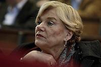 Roma, 27 Marzo 2015.<br /> Carole Beebe Tarantelli.<br /> Commemorazione di Ezio Tarantelli nel trentesimo anniversario della sua uccisione da parte delle Brigate Rosse.<br /> Università La Sapienza , facoltà di Economia e Commercio.
