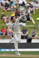 1st December 2019, Hamilton, New Zealand;  Mitchell Santner bowling. International test match cricket, New Zealand versus England at Seddon Park, Hamilton, New Zealand. Sunday 1 December 2019.