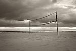 Grove Beach Point Terrace. Volley Ball net in winter at dusk.