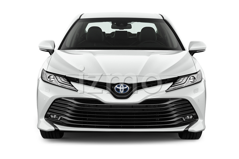 Car photography straight front view of a 2019 Toyota Camry Premium 4 Door Sedan