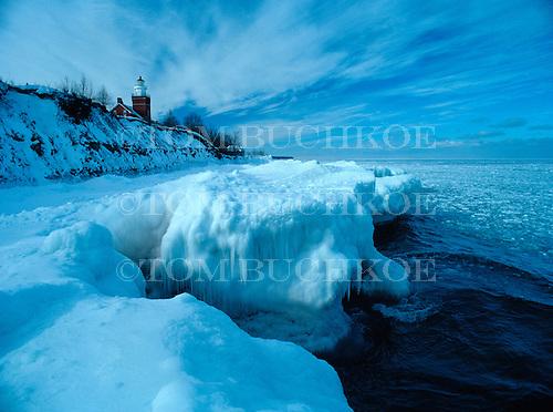 Anchor ice on the shore below the Big Bay Point Lighthouse, Big Bay Michigan, Upper Peninsula of Michigan, Lake Superior.