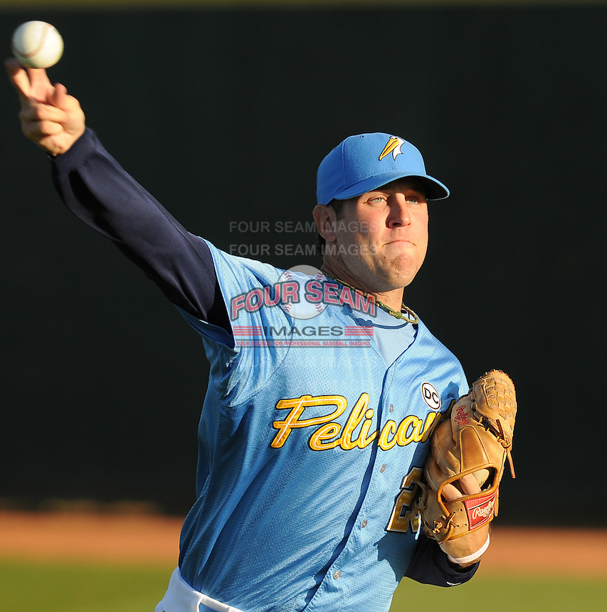 April 10, 2009: RHP Michael Mehlich (20) of the Myrtle Beach Pelicans, Class A affiliate of the Atlanta Braves, in a game against the Wilmington Blue Rocks at BB&T Coastal Field in Myrtle Beach, S.C. Photo by:  Tom Priddy/Four Seam Images