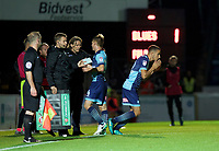 Nick Freeman of Wycombe Wanderers comes on for Jack Williams of Wycombe Wanderers during the Carabao Cup match between Wycombe Wanderers and Fulham at Adams Park, High Wycombe, England on 8 August 2017. Photo by Alan  Stanford / PRiME Media Images.