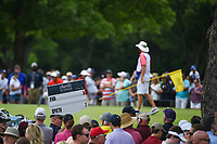 The C.T. Pan (TAI) and Jordan Spieth (USA) sign makes its way above the crowd surrounding the green on 2 during round 4 of the 2019 Charles Schwab Challenge, Colonial Country Club, Ft. Worth, Texas,  USA. 5/26/2019.<br /> Picture: Golffile | Ken Murray<br /> <br /> All photo usage must carry mandatory copyright credit (© Golffile | Ken Murray)