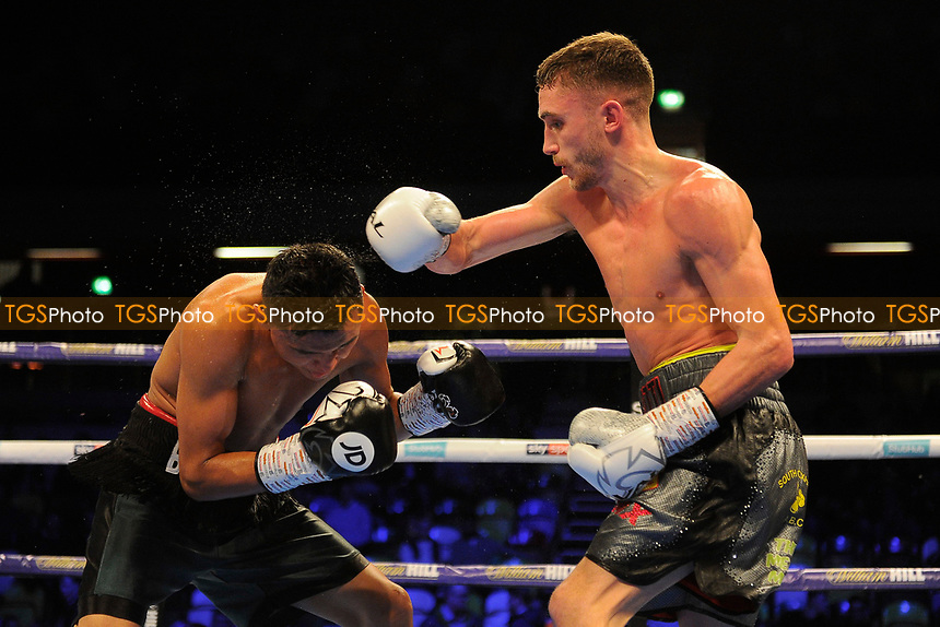 Reece Bellotti (silver shorts) defeats Brayan Mairena during a Boxing Show at the Copper Box Arena on 27th October 2018
