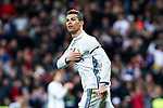 Cristiano Ronaldo of Real Madrid celebrates after scoring a goal during the match of Spanish La Liga between Real Madrid and Real Betis at  Santiago Bernabeu Stadium in Madrid, Spain. March 12, 2017. (ALTERPHOTOS / Rodrigo Jimenez)