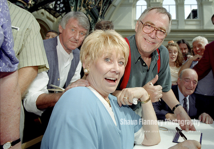 Pix: Shaun Flannery/shaunflanneryphotography.com...COPYRIGHT PICTURE>>SHAUN FLANNERY>01302-570814>>07778315553>>..9th August 1997..Soap 'royalty' Liz Dawn and Bill Tarmey (Jack and Vera Duckworth from ITV Coronation Street) open the refurbished Corn Exchange in Doncaster.