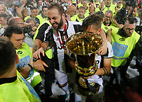 Gonzalo Higuain   celebrate after win the Italian Cup Final  football match against Lazio  at  the Olympic stadium in Rome, Italy on the 17th May 2017