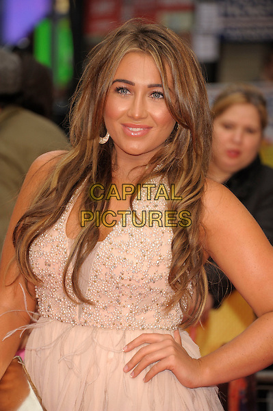Lauren Goodger .'Katy Perry:  Part of Me 3D' european film premiere, Empire cinema, Leicester Square, London, England..3rd July 2012 .half length pink dress hand on hip beige   .CAP/PL.©Phil Loftus/Capital Pictures.