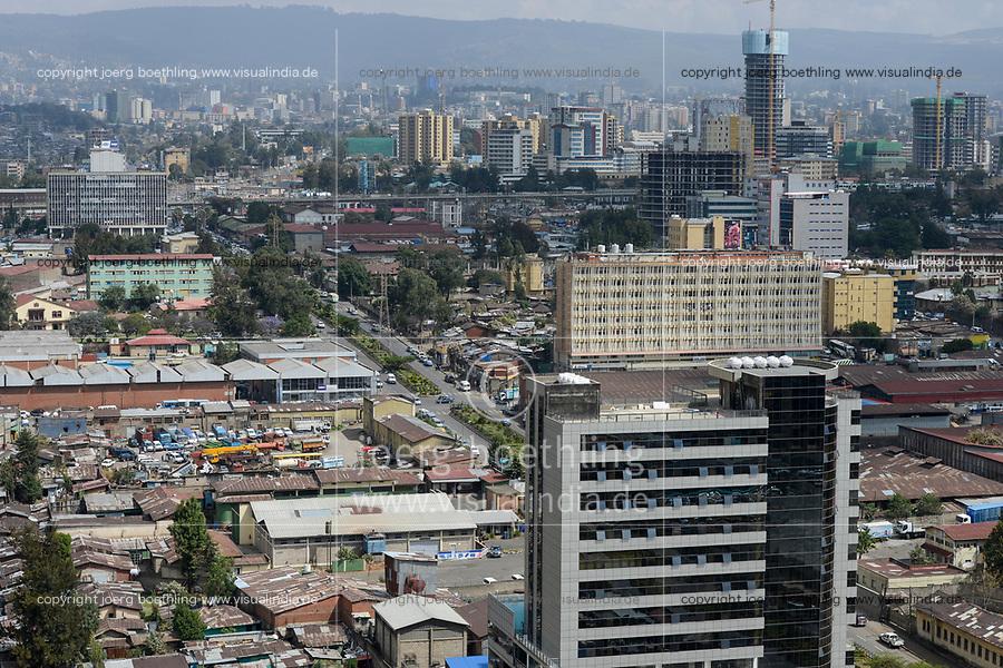 ETHIOPIA , Addis Abeba, construction boom, most of the construction is done by chinese companies / AETHIOPIEN, Addis Abeba, Bauboom, die meisten Hochhaeuser werden von chinesischen Firmen gebaut