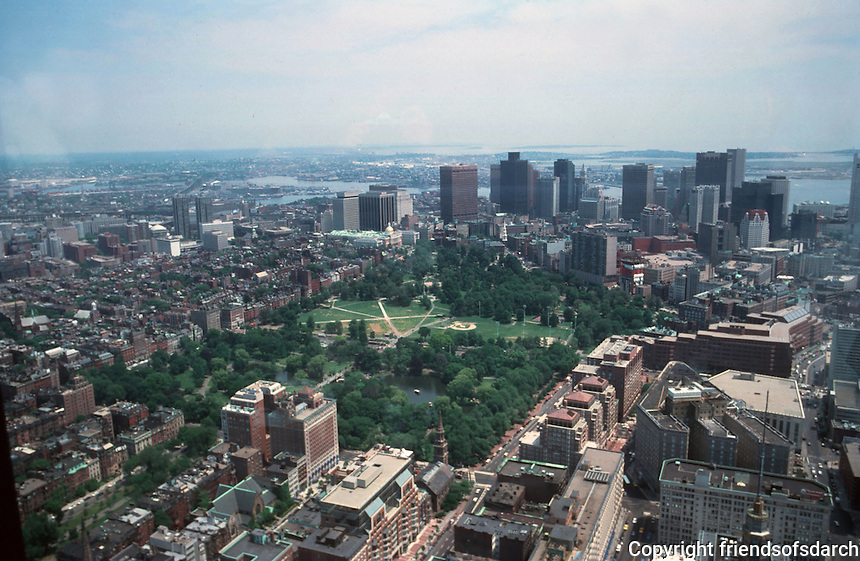 Boston:  Views from the Hancock--The Common, Boston Public Garden, Beacon Hill.  Photo '88.