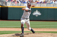Virginia's Danny Hultzen delivers a pitch. Virginia beat California 4-1 on June 19, 2011 at the College World Series in Omaha, Neb. (Photo by Michelle Bishop)..