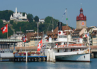 Switzerland, Canton Lucerne, Lucerne: old Town with Town Hall and steam paddle boat Gallia, background hotel Guetsch
